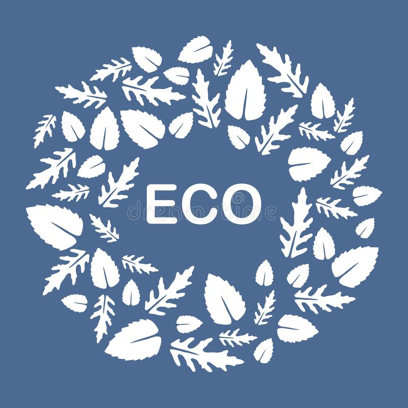 Arugula, basil leaves. Eco, vegan, bio, organic. Vector illustration with arugula and basil leaves. Eco design. Vegan, natural, bio. Organic background. Design stock illustration