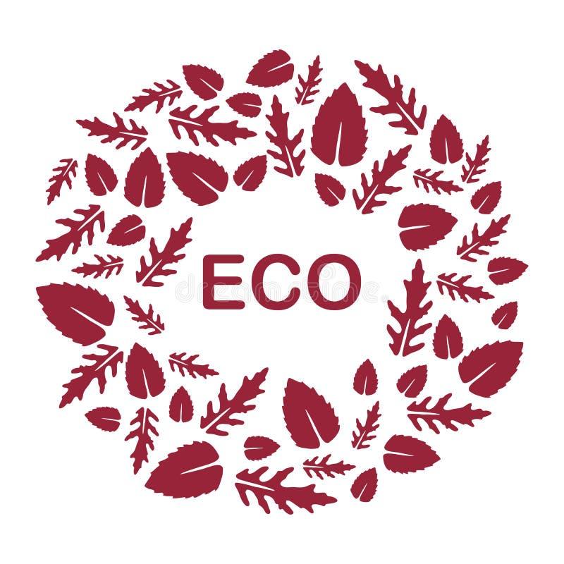 Arugula, basil leaves. Eco, vegan, bio, organic. Vector illustration with arugula and basil leaves. Eco design. Vegan, natural, bio. Organic background. Design royalty free illustration