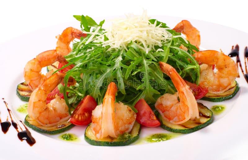 Arugula dish with shrimp stock photography