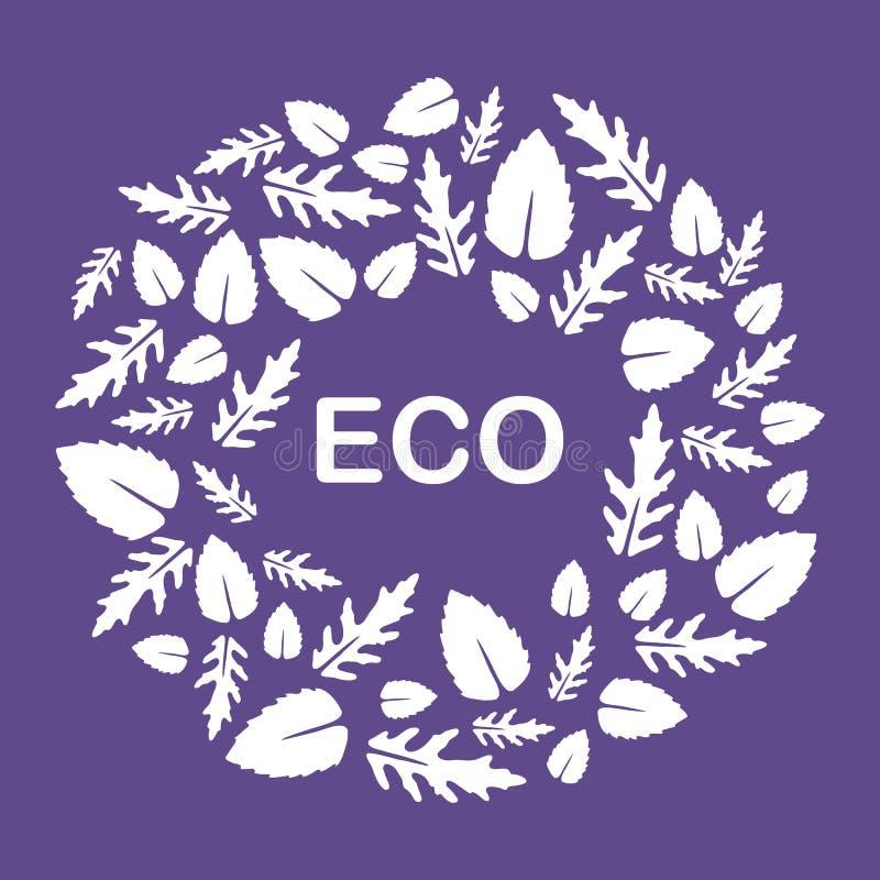 Arugula, hojas de la albahaca Eco, vegano, bio, org?nico stock de ilustración