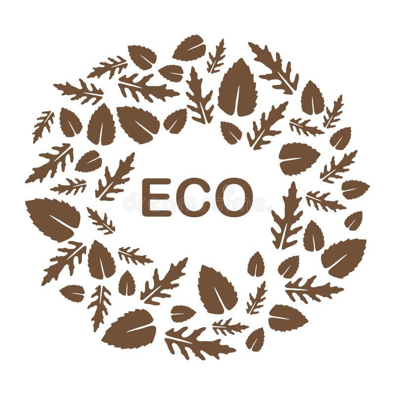 Arugula, hojas de la albahaca Eco, vegano, bio, org?nico ilustración del vector