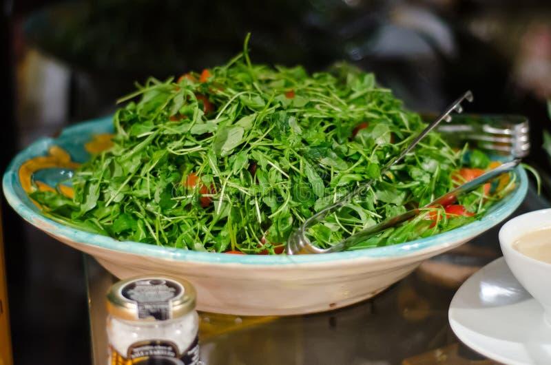 Arugula salad. Fresh arugula salad and mustard sauce stock images
