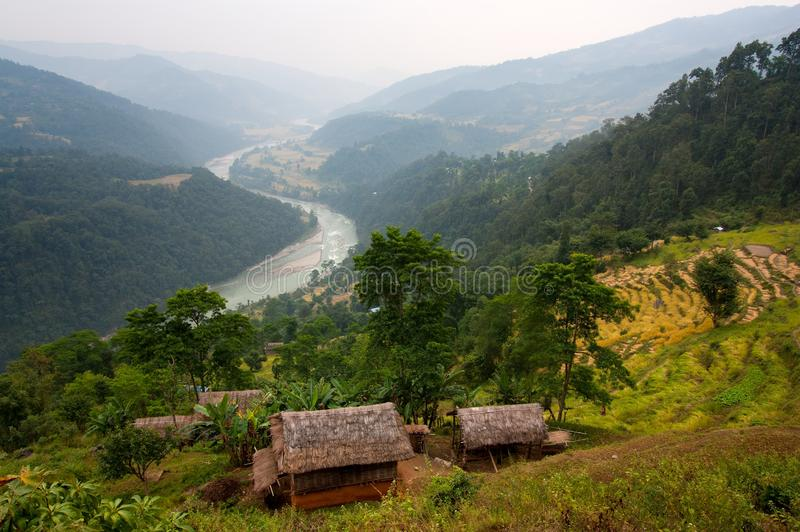 arun Nepal dolina obraz royalty free