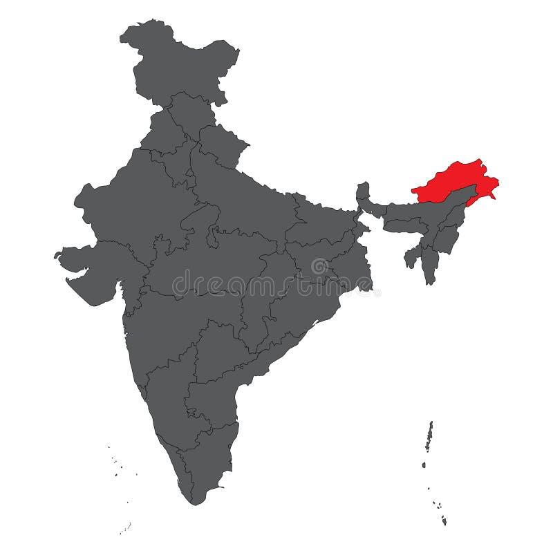 Arunachal Pradesh-rood op grijze de kaartvector van India stock fotografie