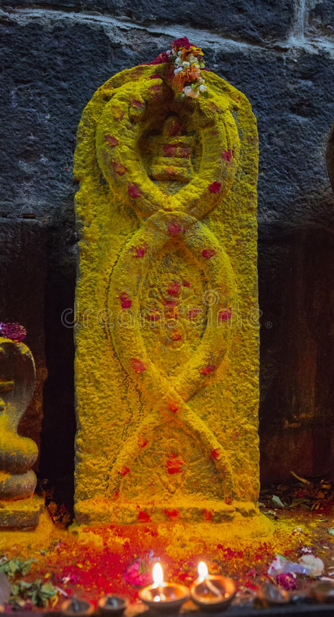 Arunacheshvara Temple. Candle flame close-up in the Indian Shiva royalty free stock photos