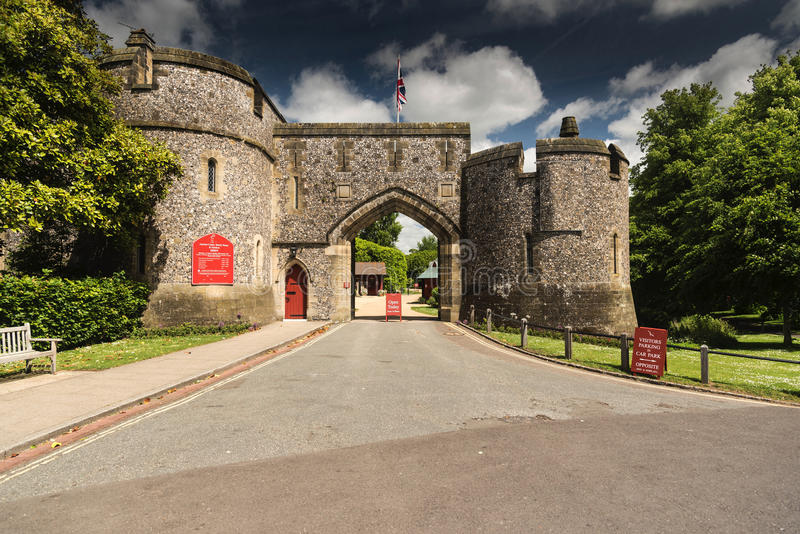 Arundel Castle gateway Arundel West Sussex. Arundel Castle is a restored and remodelled medieval castle in Arundel, West Sussex, England. It was established by royalty free stock photo