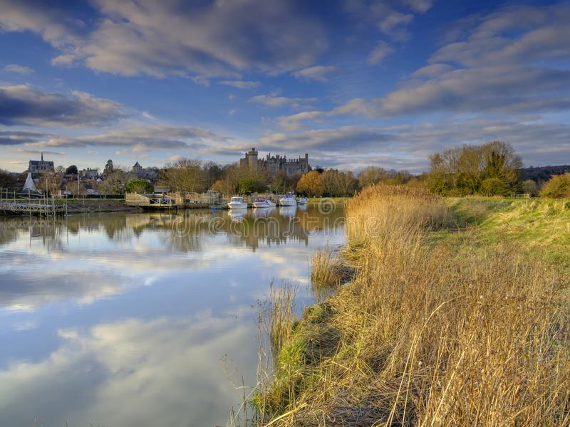 Arundel Castle and town on the River Arun, West Sussex, UK stock image