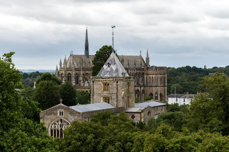 ARUNDEL, ENGLAND, UK – AUGUST 11 2018: View of The Parish and Priory Church of Saint Nicholas. Taken from The Keep of Arundel Castle with Arundel royalty free stock photography