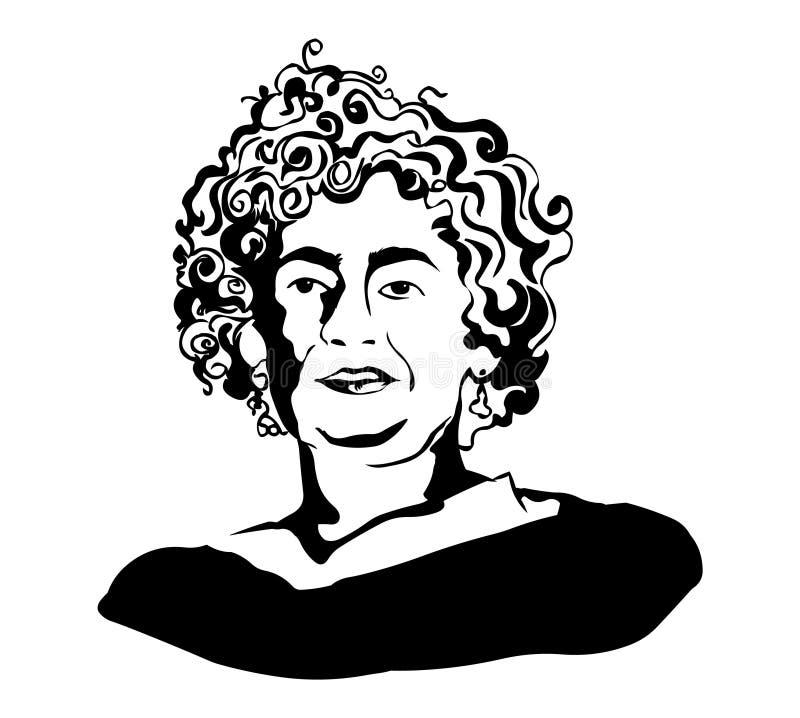 Arundhati Roy Retrato do vetor de Arundhati Roy ilustração do vetor
