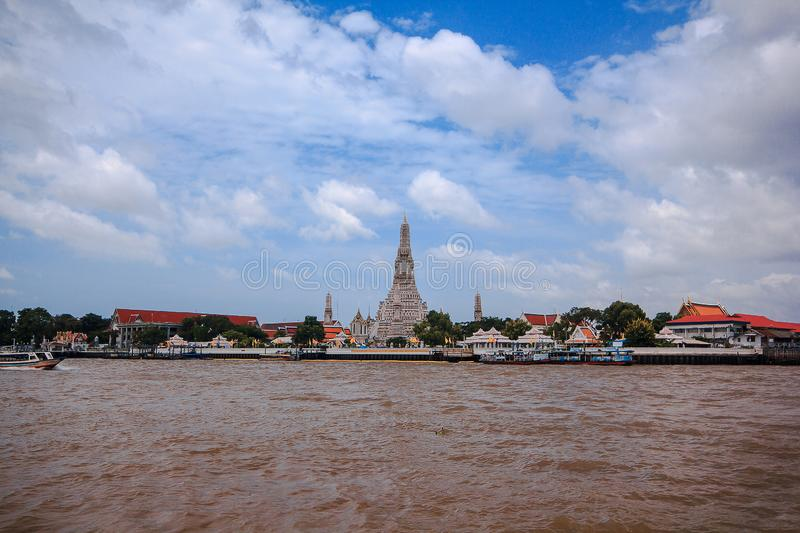 Arunratchawararam Temple is located on the west bank of the Chao Phraya River, Bangkok, stock image