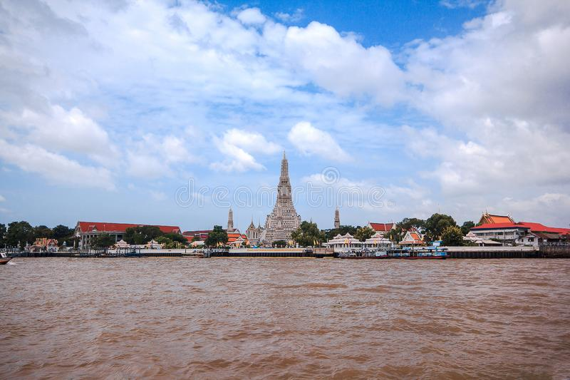 Arunratchawararam Temple is located on the west bank of the Chao Phraya River, Bangkok, royalty free stock image
