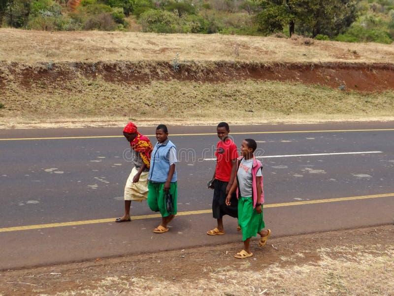 Arusha Tanzania - Augusti 2012 Oidentifierade unga lokala pojkar som går på vägen fotografering för bildbyråer
