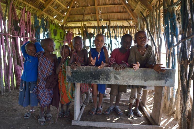 Arusha, Tanzania, February 07, 2016: Massai kids in school. Massai kids in school in Tanzania royalty free stock photo