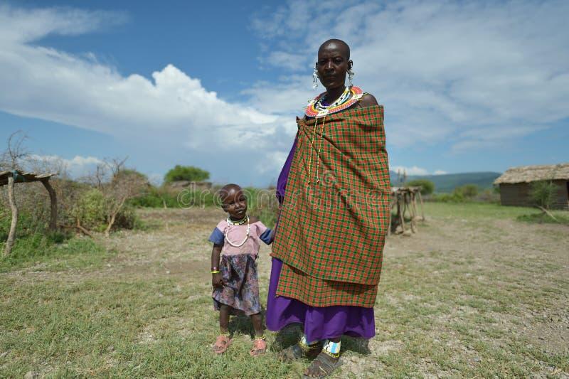 Arusha, Tanzania, February 07, 2016: Massai mother and her son. Massai mother and her son stock photography