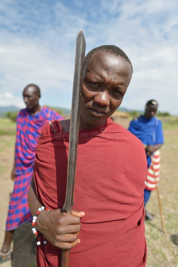 Arusha, Tanzania, February 07, 2016: Massai warrior. Massai man warrior in Africa royalty free stock images