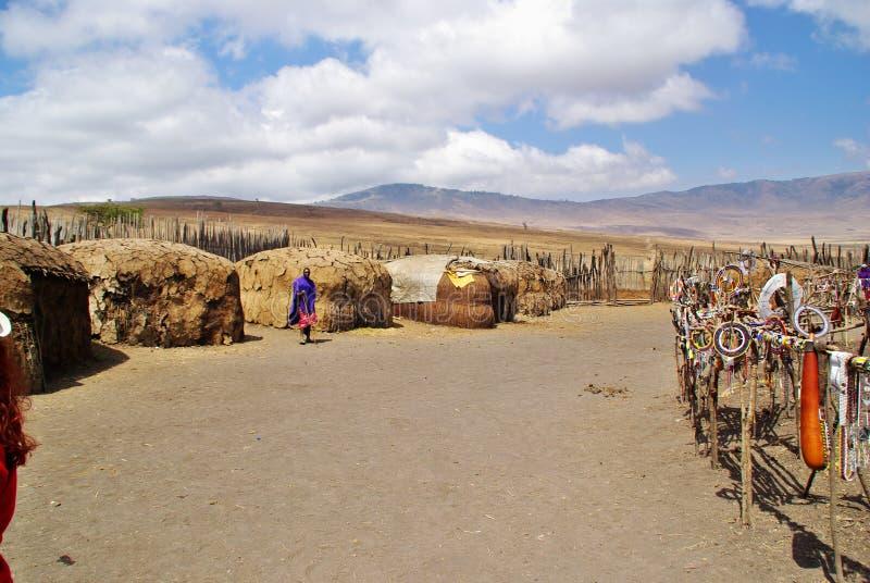 ARUSHA, TZ - CIRCA AUGUST 2010 - Masai village in Serengeti National Park. royalty free stock photo