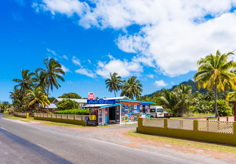 ARUTANGA, COOK ISLAND - SEPTEMBER 30, 2018: View of the building of the local grocery store. Copy space for text stock photography