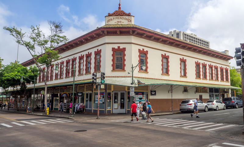 Arvbyggnader i kineskvarter i Honolulu, Hawaii royaltyfri bild