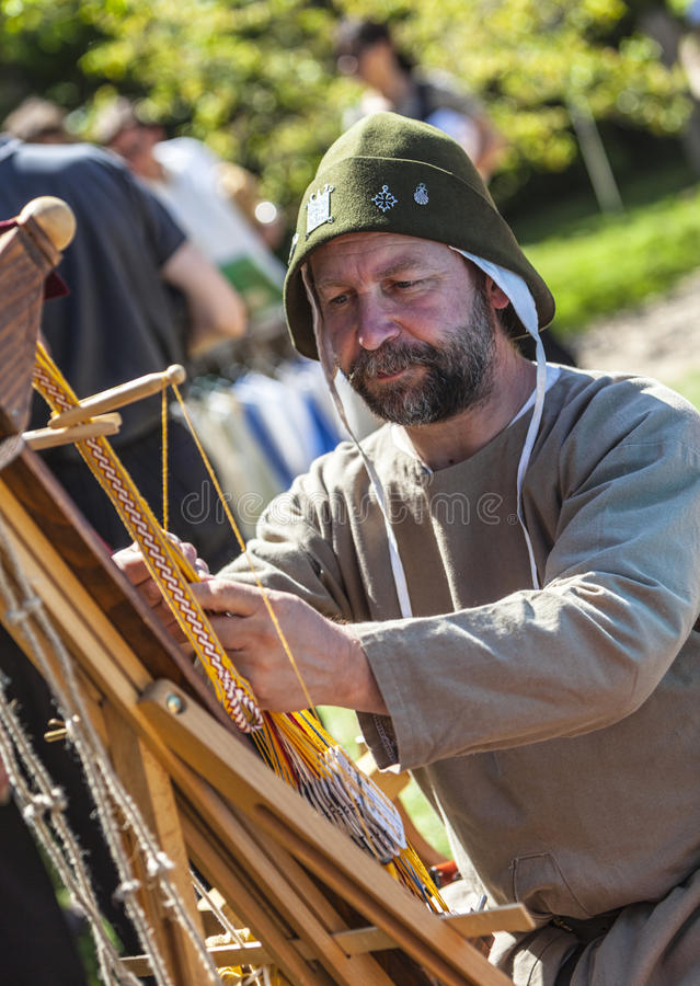 Portrait of a Medieval Leatherworker stock images