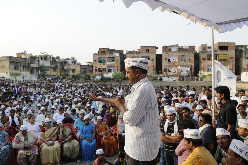 Arvind Kejriwal讲话在竞选集会 免版税图库摄影