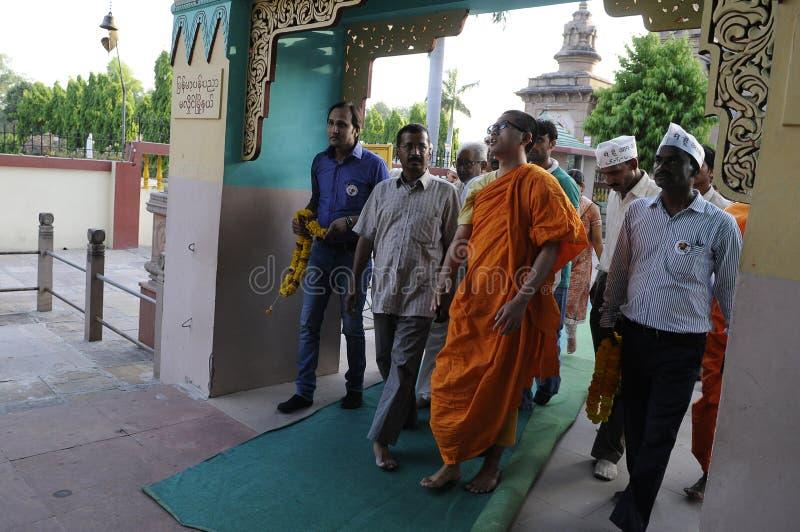 Arvind Kejriwal in Sarnath, India stock afbeelding