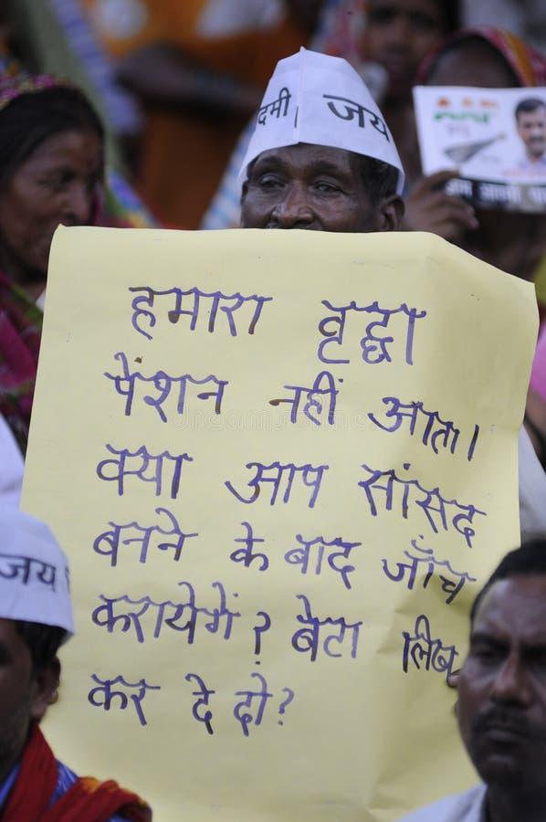Arvind Kejriwal in Sarnath, India royalty-vrije stock afbeeldingen