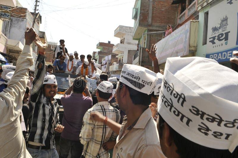 Arvind Kejriwal som delta i en kampanj för Dr Kumar Vishwas royaltyfria bilder