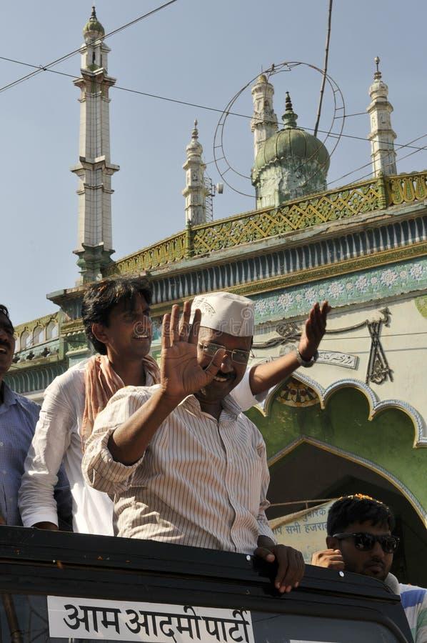 Arvind Kejriwal som delta i en kampanj för Dr Kumar Vishwas royaltyfri fotografi