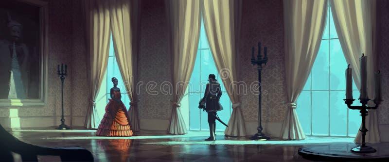 Arystokratyczne kobiety i mężczyzna royalty ilustracja