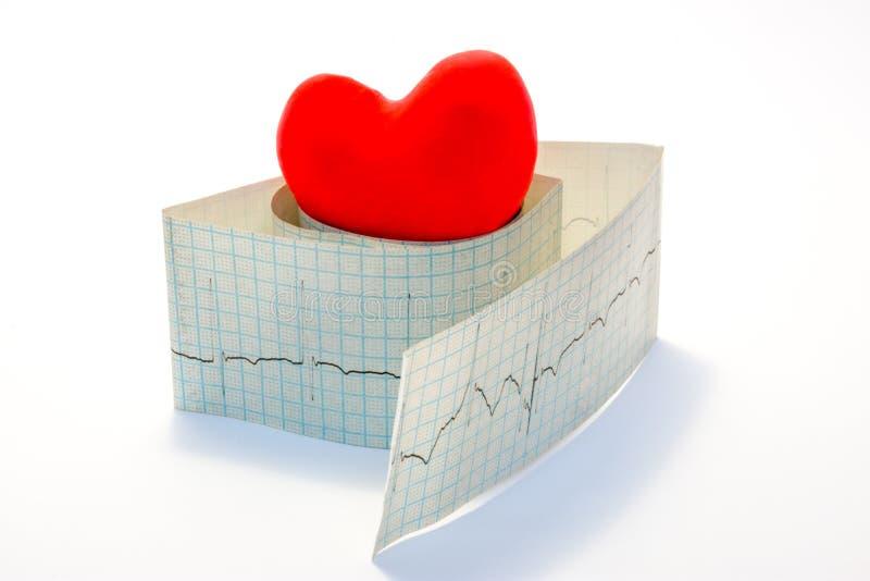 Arythmies de photo d'idée et maladies cardiaques liées aux désordres du rythme normal de coeur Le coeur rouge modèle se trouve su photographie stock