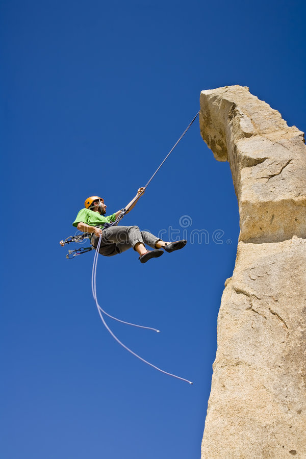 arywista rock rappelling obrazy stock