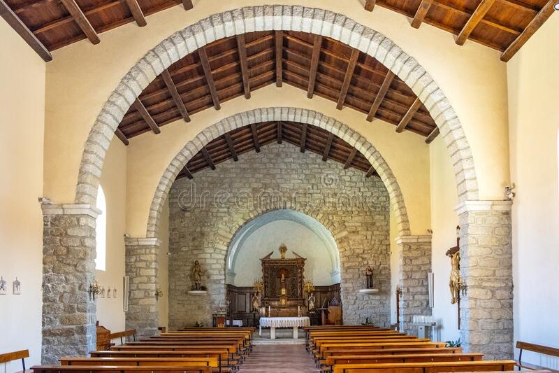 Arzachena, Sardinia, Italy - Interior of the Church of Saint Mary della Neve - Chiesa di Santa Maria della Neve - in Arzachena,. Arzachena, Sardinia / Italy royalty free stock photo