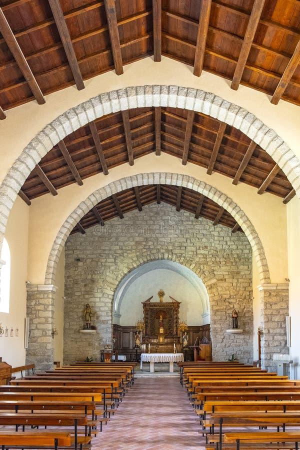 Arzachena, Sardinia, Italy - Interior of the Church of Saint Mary della Neve - Chiesa di Santa Maria della Neve - in Arzachena,. Arzachena, Sardinia / Italy stock images