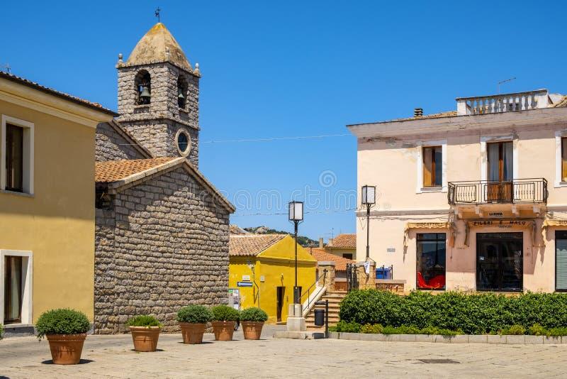Arzachena, Sardinia, Italy - Main square with Church of Saint Mary della Neve - Chiesa di Santa Maria della Neve - in Arzachena,. Arzachena, Sardinia / Italy stock photo