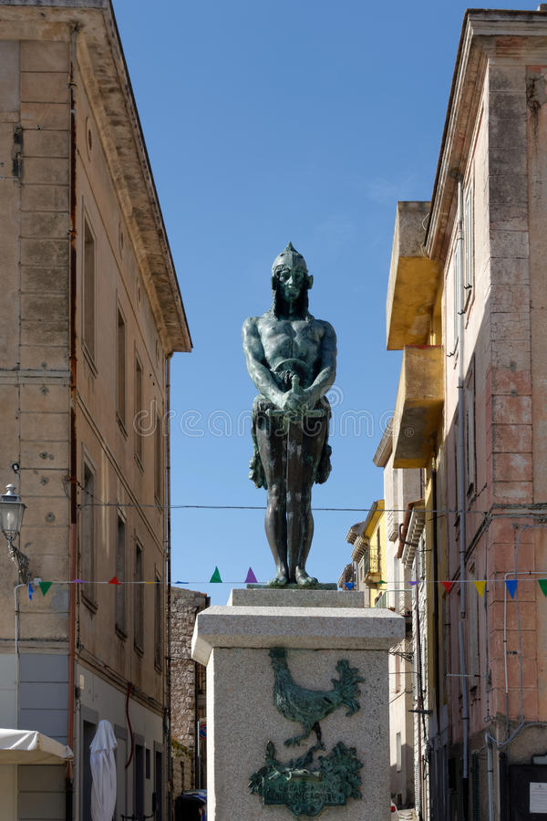 ARZACHENA, SARDINIA/ITALY - MAY 20 : Statue of an ancient warrior in Arzachena Sardinia on May 20, 2015 royalty free stock photo
