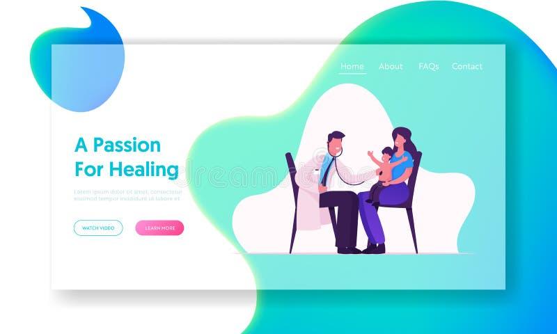 Arzt Baby Check Up in Hospital Website Landing Page Ärztlicher Pädiateriker Doctor Listen Lung und Herzklang stock abbildung