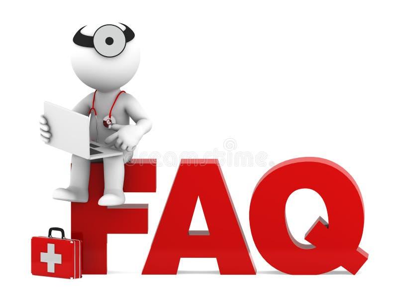 Arzt, der auf FAQ-Zeichen sitzt. lizenzfreie abbildung