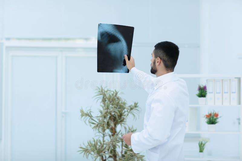 Arzt, der Röntgenstrahlbild im Krankenhaus betrachtet lizenzfreie stockbilder
