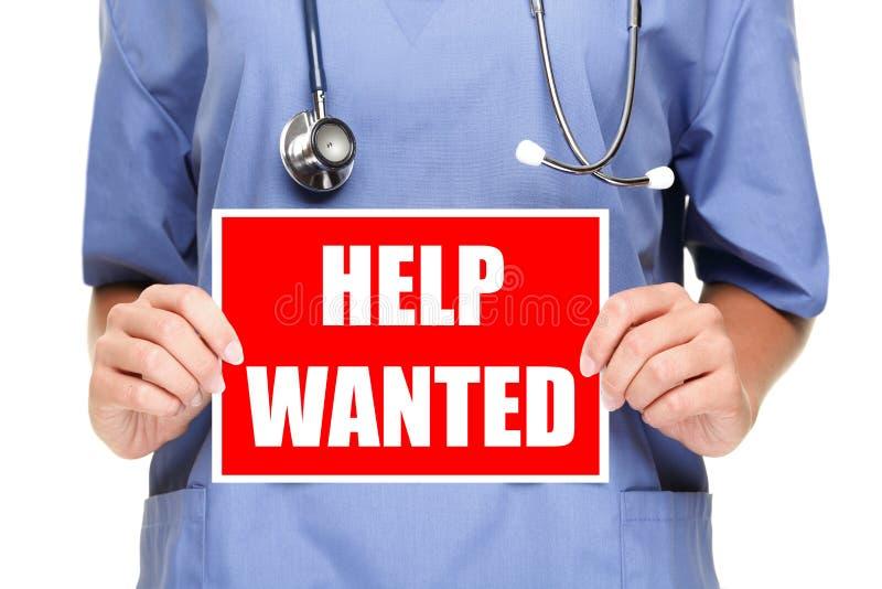Arzt-/Krankenschwesterhilfe wünschte Zeichen lizenzfreie stockfotos