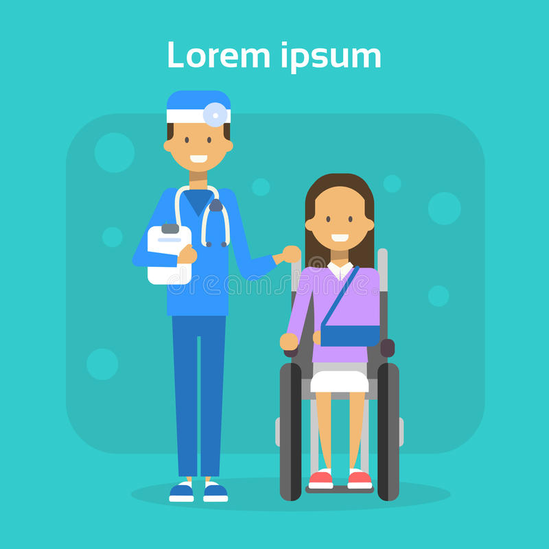 Arzt With Young Woman auf Rollstuhl glücklicher weiblicher behinderter lächelnder Sit On Wheelchair Disability Concept lizenzfreie abbildung