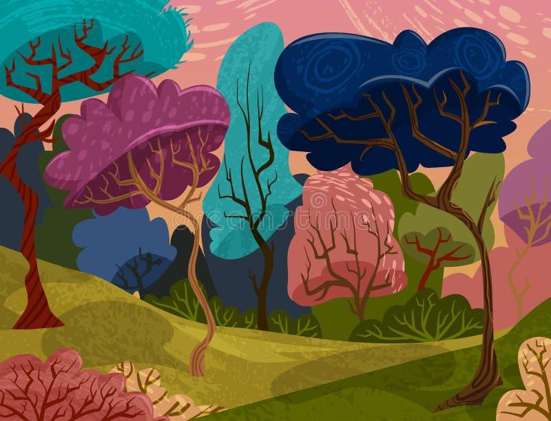 As árvores bonitas no verão colorido dos desenhos animados mágicos da floresta ajardinam ilustração do vetor