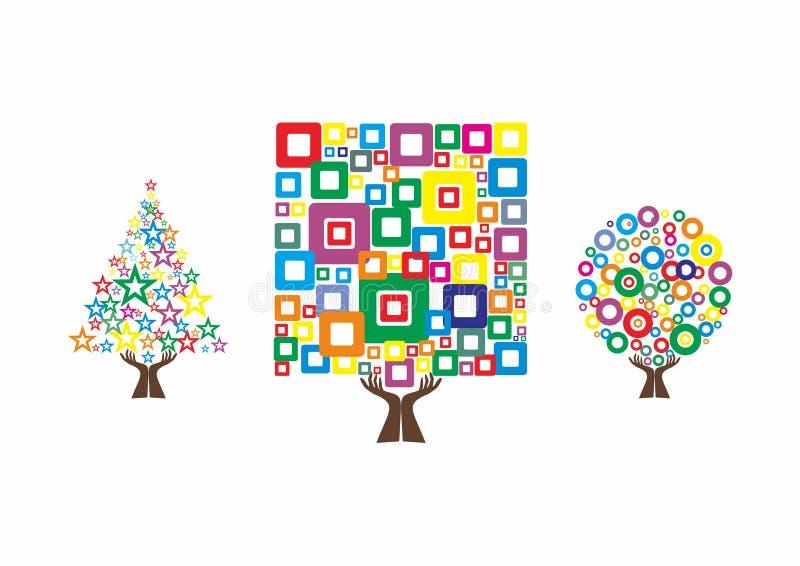 As árvores coloridas, logotipo da árvore da mão, stars o logotipo da árvore, árvore Logo Design do crishmast ilustração stock