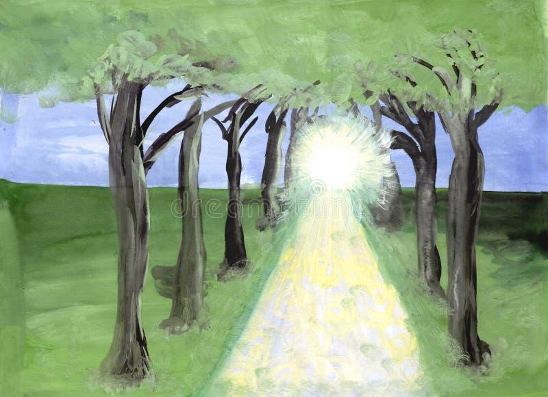 As árvores da estrada que conduzem em uma imagem brilhante da passagem fotografia de stock