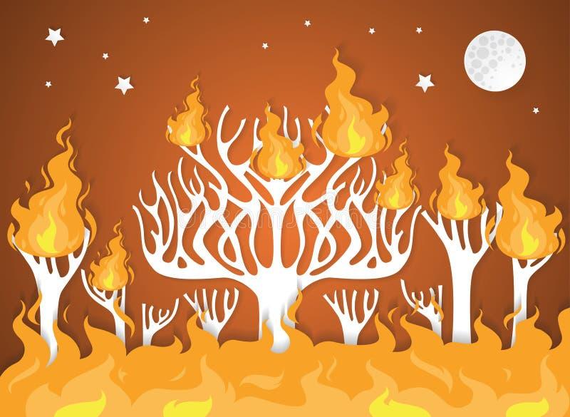 As árvores de floresta ardentes no fogo ardem - o conceito da catástrofe natural ilustração royalty free