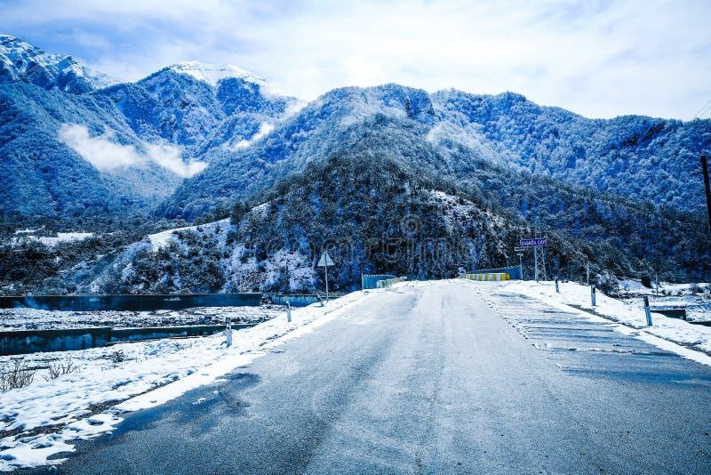 As árvores de goma da neve cobriram montanhas nevados Azerbaijão durante a estação de esqui alta no inverno com os lotes da neve  imagem de stock royalty free
