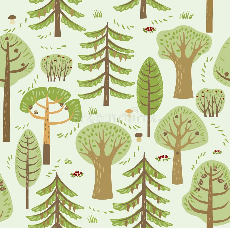 As árvores diferentes coníferas e decíduos da floresta do verão crescem em um fundo verde Entre eles, cogumelos, bagas e arbustos ilustração stock