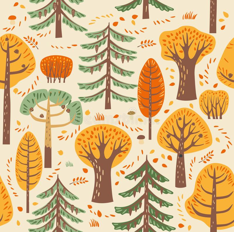 As árvores diferentes da floresta do outono crescem em um fundo bege Entre eles são as folhas caídas, cogumelos Teste padrão sem  ilustração royalty free