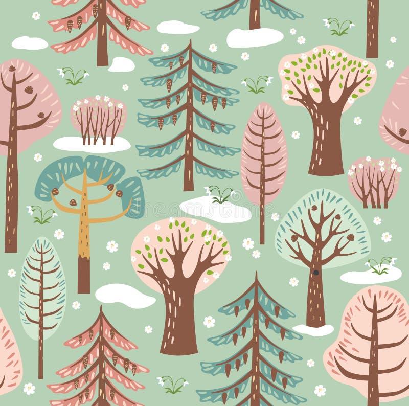 As árvores diferentes da floresta da mola crescem em um fundo de turquesa Entre eles, a neve derrete, floresce a flor Gráficos de ilustração royalty free