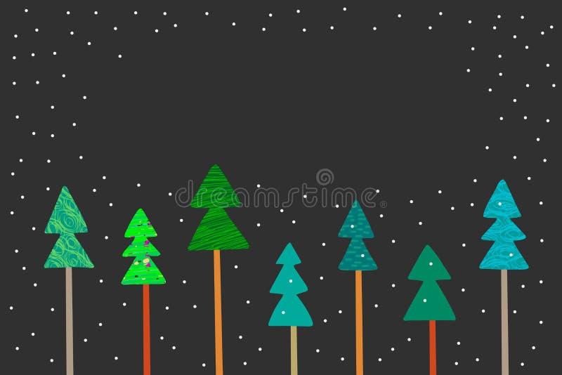 As árvores do ano novo entregam a ilustração verde e cinzenta tirada do fundo ilustração do vetor
