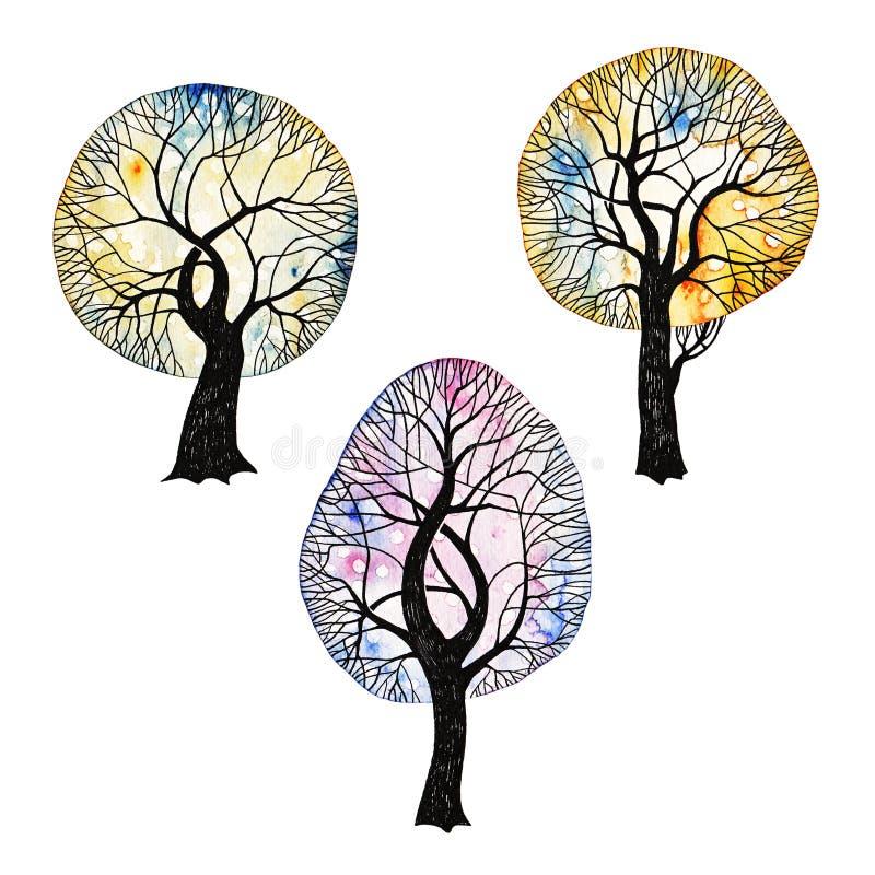 As árvores do inverno ajustaram 2 fotografia de stock